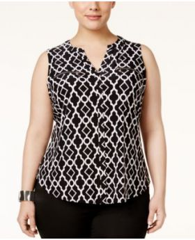 INC International Concepts Plus Size Zipper Top ventana marroquí 0X