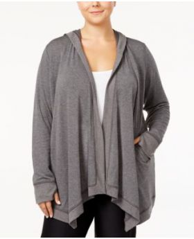 Ideology Plus Size Hooded Open-Front Wr Charcoal Heather 1X