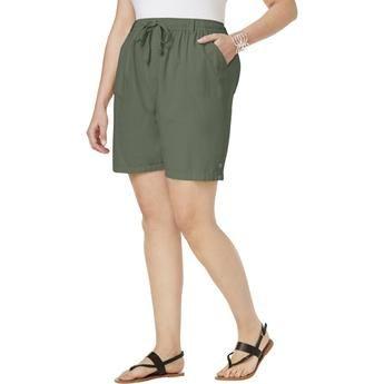 Pantalones Cortos De Algoda N Lisa Karen Scott Plus Size Olive Vine 2x