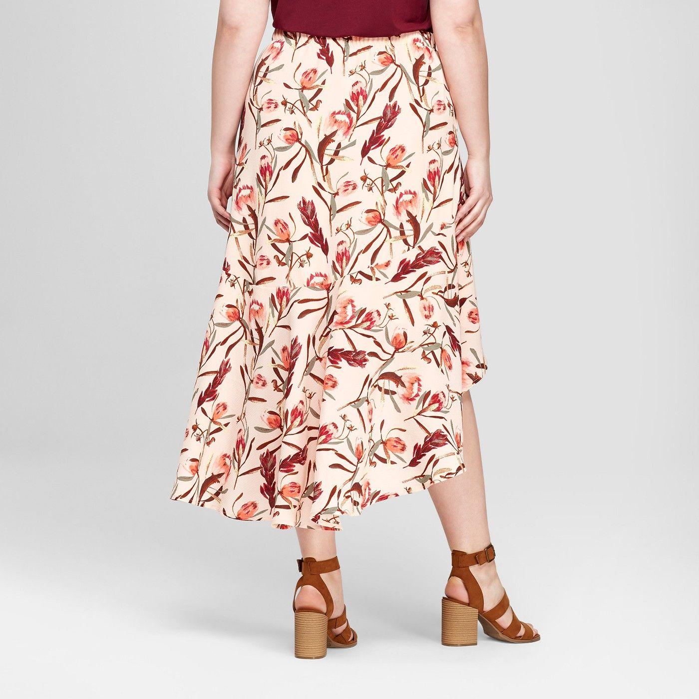 Falda Larga Con Estampado Floral Y Dobladillo Con Volantes En Las Tallas Grandes Para Mujer Ava Viv A Peach