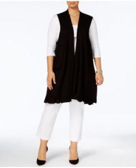 Alfani Plus tamaño suéter con dobladillo de volantes negro profundo 1X