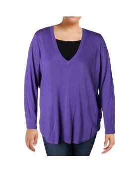 Lauren Ralph Lauren Suéter con cuello en V y talla grande, color lila oscuro 2X