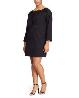 Lauren Ralph Lauren Vestido de cambio de algodón en talla extra Polo Negro 1X
