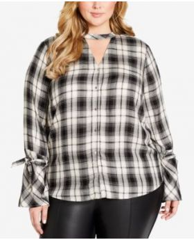 Jessica Simpson Trendy Plus Size Carol Plaid C Negro 1X