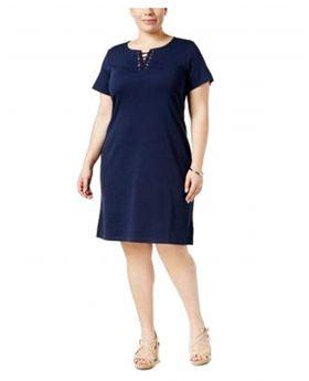Vestido de punto con cordones Karen Scott Plus Size Intrepid Blue 1X