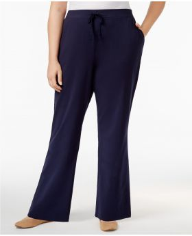Pantalones de punto de gran altura Karen Scott Plus High Charcoal Heather 1XS