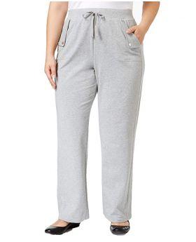 Karen Scott tamaño extra francés Terry pantalones humo gris jaspeado 1X