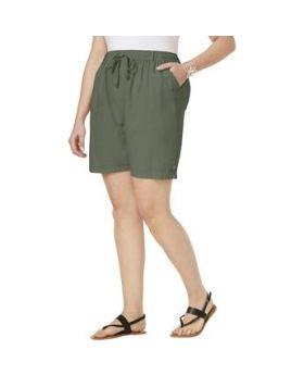 Pantalones cortos de algodón lisa Karen Scott Plus Size Olive Vine 2X