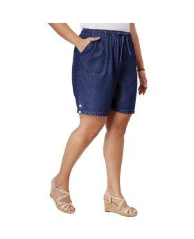Shorts de algodón Lisa de talla grande Karen Scott Horizon Wash 3X