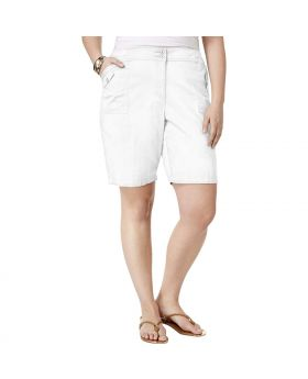 Pantalones cortos de utilidad Karen Scott Plus Size blanco brillante 24W
