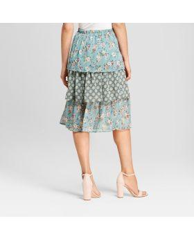 Falda Midi con gradas y estampado floral para mujer - Xhilaration ™ Sea Foam