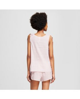Camiseta de tirantes de tirantes con lazo a rayas para mujer - Xhilaration ™ Pink