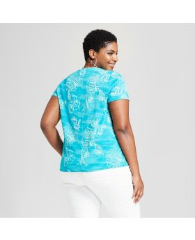 Camiseta de manga corta con cuello en v y talla impresa para mujer - Ava & Viv ™ Aqua