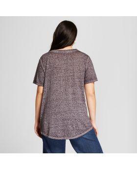Camiseta estampada con cuello en V y manga corta con cuello en V de Criss Cross para mujer, talla grande, cultura lírica (juveniles), gris carbón