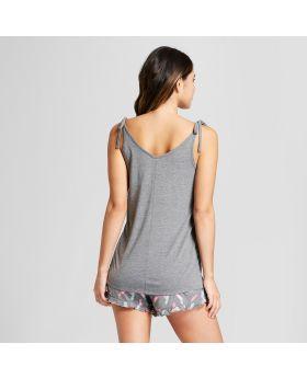 Conjunto de pijama y camiseta sin mangas con tirantes tipo corbata y correas - Xhilaration ™ gris