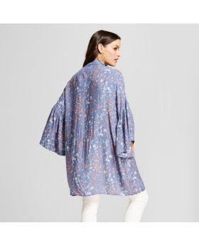 Capullo con estampado floral para mujer con volantes Chaquetas estilo kimono - Universal Thread ™ azul