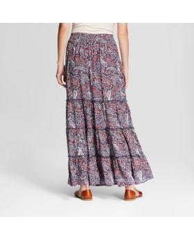 Falda Larga Estampada Paisley Para Mujer - Knox Rose ™ Azul Marino