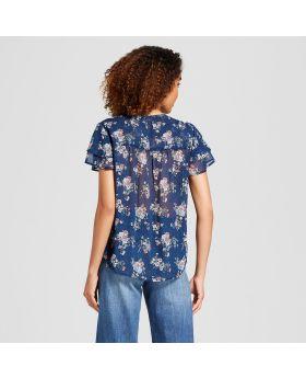 Top de manga corta con estampado floral para mujer - Knox Rose ™ azul marino