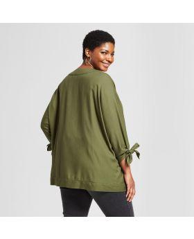 Chaqueta estilo kimono abierto, tamaño extra grande, corbata abierta para mujer - Ava & Viv ™ Olive