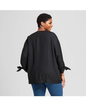 Chaqueta estilo kimono abierto, tamaño extra grande, corbata abierta para mujer - Ava & Viv ™ Negro