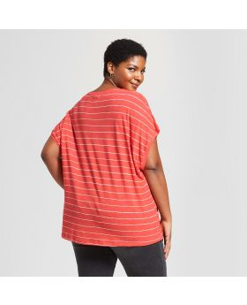 Camiseta de manga corta cuello en V talla plus para mujer - Ava & Viv