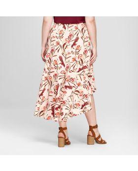 Falda larga con estampado floral y dobladillo con volantes en las tallas grandes para mujer - Ava & Viv ™ Peach