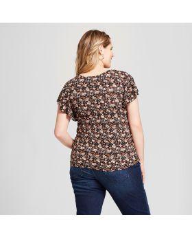 Camiseta de manga corta con fruncido floral de talla grande para mujer - Xhilaration ™ Marrón