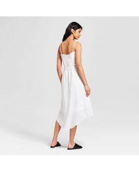 Falda Smocked High Low a rayas para mujer - Mossimo ™ White