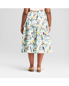 Falda cruzada con volantes y estampado floral de talla grande para mujer - Ava & Viv ™ azul claro