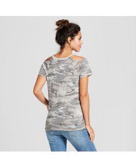 Camiseta con estampado de camuflaje para mujer, manga corta, hombro quemado, lavado desgastado - Hilos de Grayson (Juniors ') gris jaspeado
