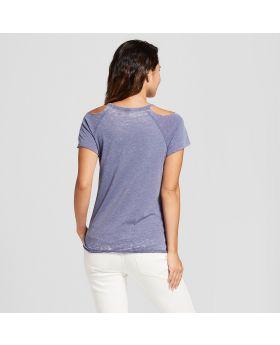Camiseta de manga corta para el hombro con lavado de desgaste de las mujeres - Hilos de Grayson (Juniors) Azul