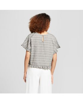 Blusa con ribete de manga corta con volantes a rayas para mujer - A New Day ™