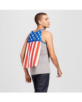 Camisetas de tirantes USA Patriot Cape para hombre - Gris jaspeado