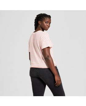 Camiseta de manga corta para mujer, de talla grande, con corbata a rayas - Xhilaration ™ rojo / blanco