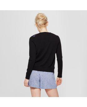 Suéter tipo cardigan floral bordado para cualquier día para mujer - A New Day ™ Black