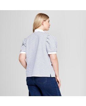 Camisa polo de manga corta con manga acolchada a rayas de talla grande para mujer - Ava & Viv ™ Azul / Blanco