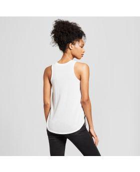Camiseta sin mangas con gráfico de Peachy Peachy Peachy para mujer - Awake White