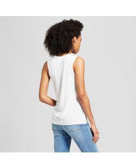 Camiseta sin mangas con gráfico Boston para mujer - Awake White