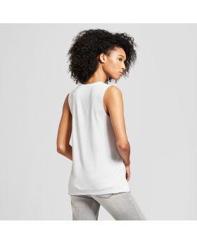 Camiseta sin mangas con gráfico en reversa Chi Letters para mujer - Awake White