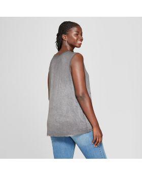 Camiseta de tirantes sin mangas con estampado grande para damas talla grande para mujer - Lyric Culture (Juniors ') Gris
