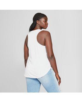 Camiseta de tirantes de talla grande para mujer del tamaño extra grande para mujer - Moderno (Juniors ') Blanco Moderno
