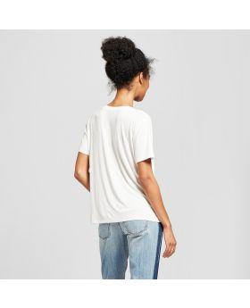 Camiseta estampada drapeada de felicidad de manga corta para mujer - Fifth Sun (Juniors ') Ivory