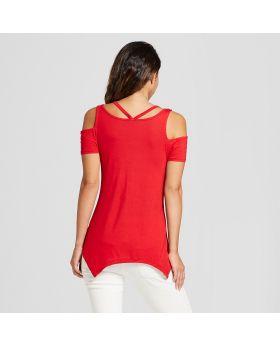 Camiseta de manga corta para mujer, con hombro frío, tiburón, mordedura, camiseta - Casi famosa (para jóvenes)