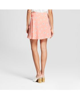 Falda con estampado floral con lazo en la cintura para mujer - Eclair Pink