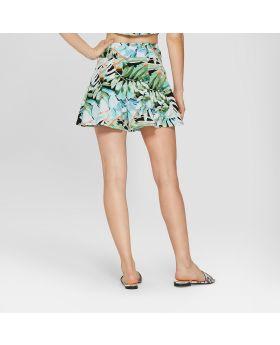 Pantalones cortos de cintura con lazo tropical de Jurassic Park para mujer (juniors) Verde / Blanco