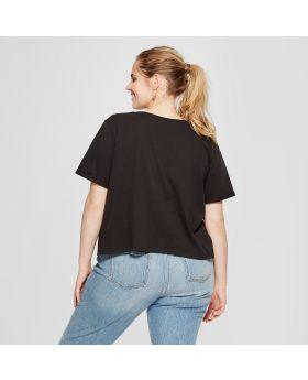 Talla de Jurassic Park Plus para mujer No te preocupes, no muerdo la espalda Camiseta de manga corta con gráfico (Juniors ') Negro