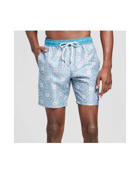 Hombres medallón Imprimir pantalon de playa - Trinidad Teal colectiva
