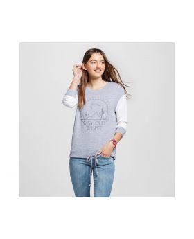 Pullover Para mujer super suave con cordón gris