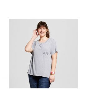 Camiseta de Mujer Tamaño Plus con bordado de bolsillo - Lux moderna Heather Grey