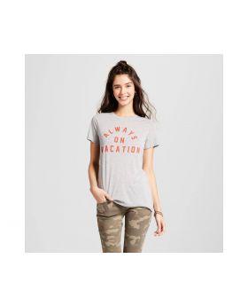 Siempre el vacaciones camiseta gráfica Para mujer Heather Grey - Zoe + Liv (Juniors)